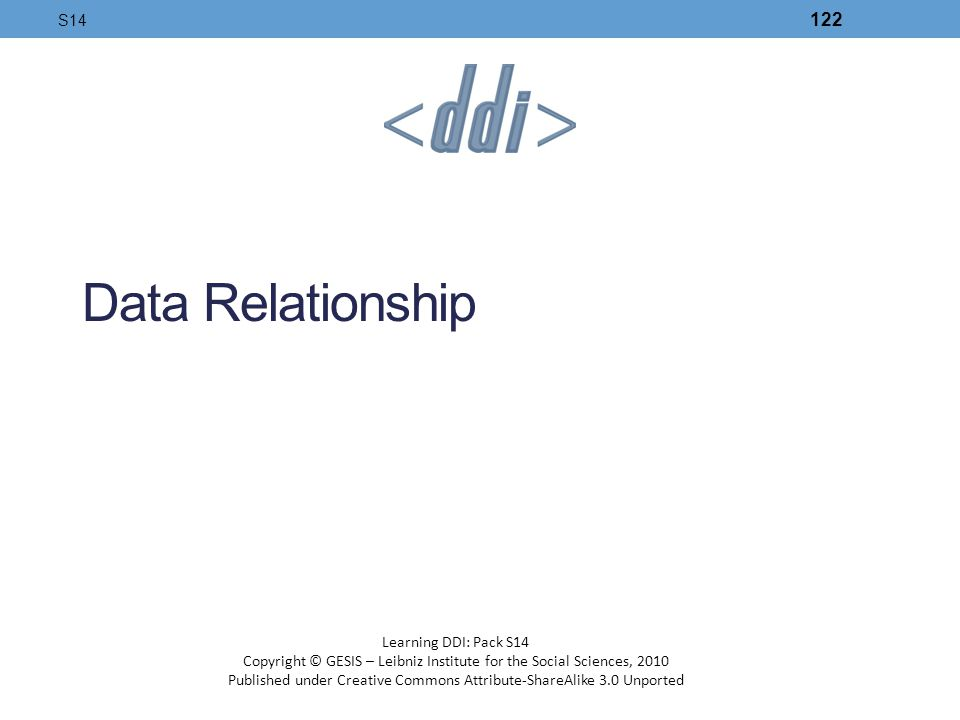 Data Relationship S14 Learning DDI: Pack S14