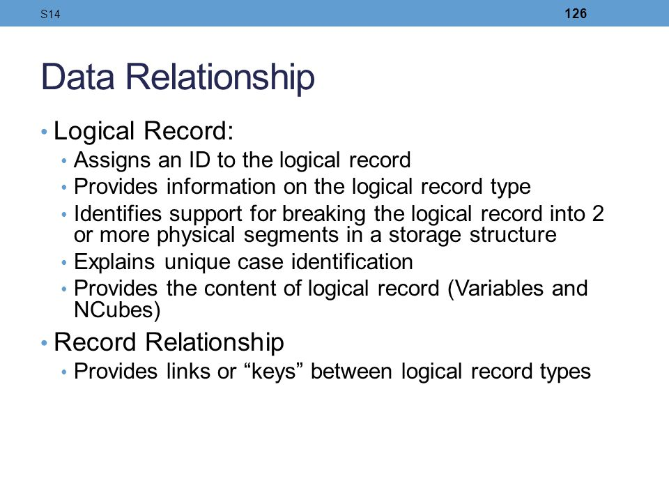 Data Relationship Logical Record: Record Relationship