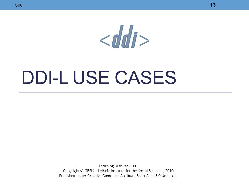 DDI-L Use Cases S06 Learning DDI: Pack S06