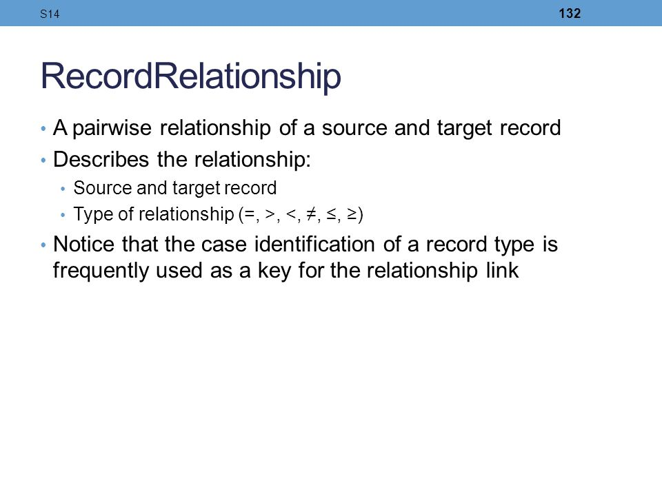 S14 RecordRelationship. A pairwise relationship of a source and target record. Describes the relationship:
