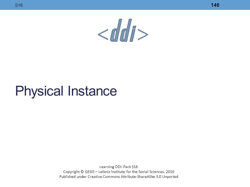Physical Instance S16 Learning DDI: Pack S16