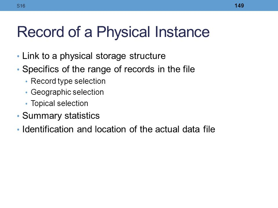 Record of a Physical Instance
