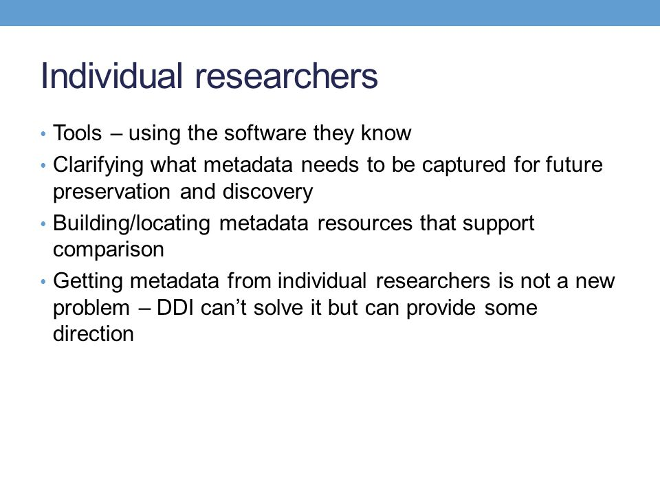 Individual researchers