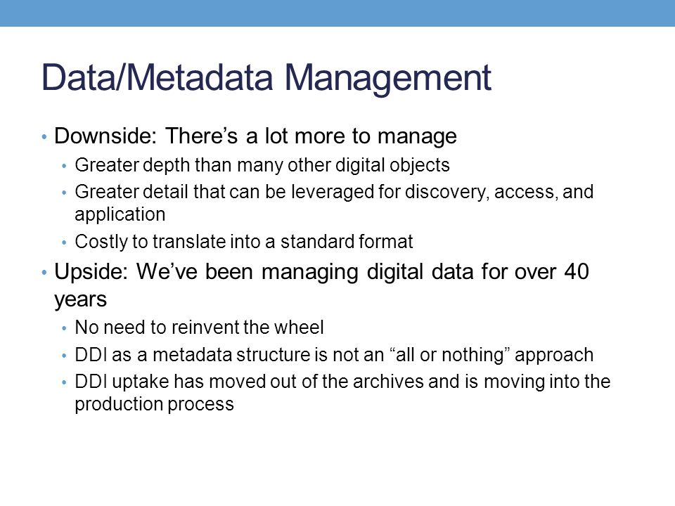 Data/Metadata Management