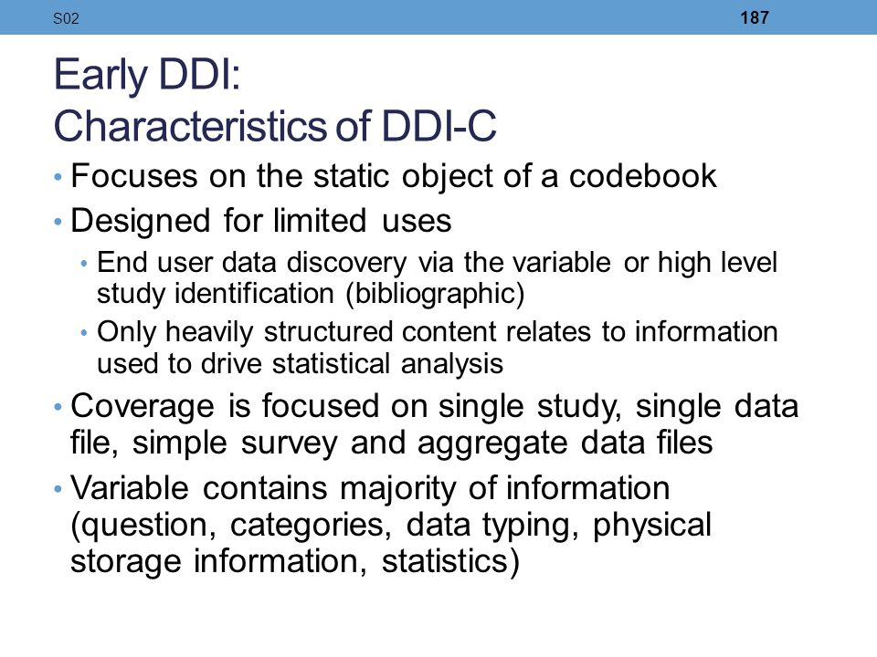Early DDI: Characteristics of DDI-C