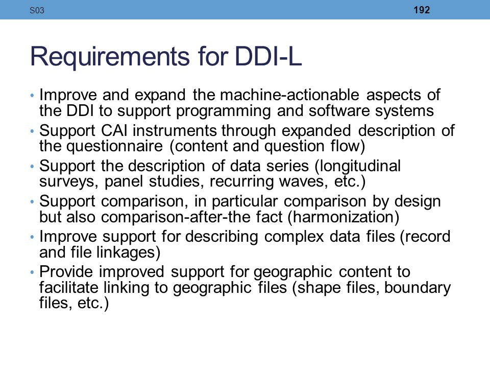 Requirements for DDI-L