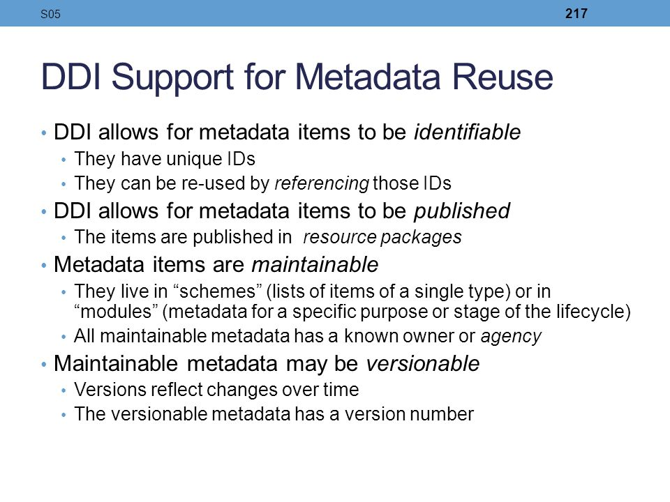 DDI Support for Metadata Reuse