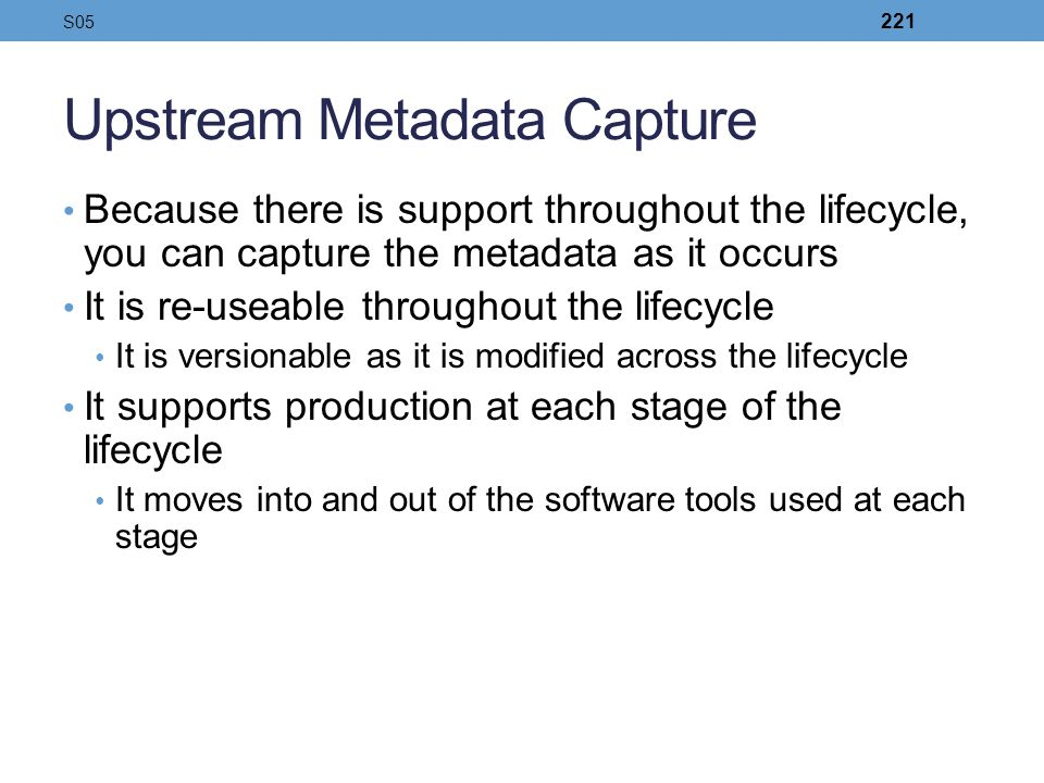 Upstream Metadata Capture