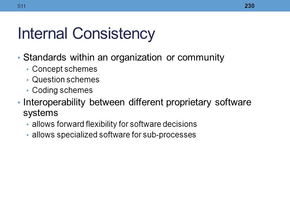 Internal Consistency Standards within an organization or community
