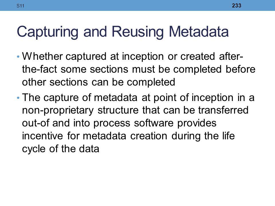 Capturing and Reusing Metadata