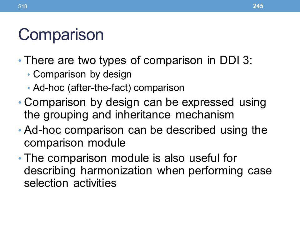 Comparison There are two types of comparison in DDI 3: