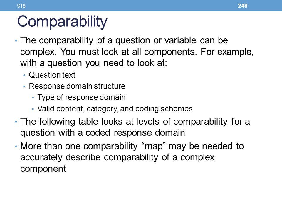 S18 Comparability.