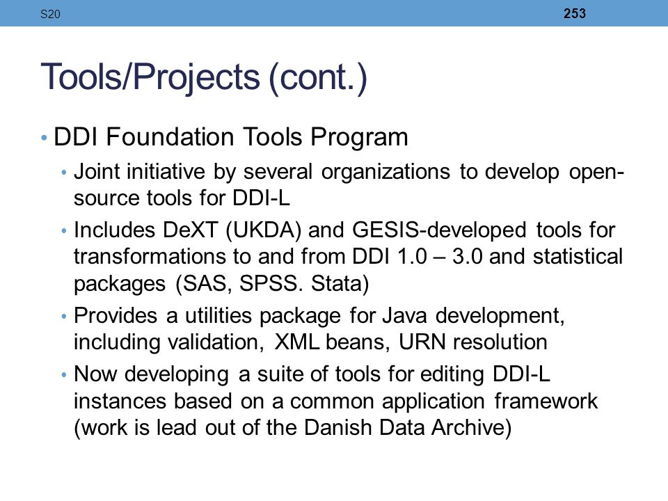 Tools/Projects (cont.)