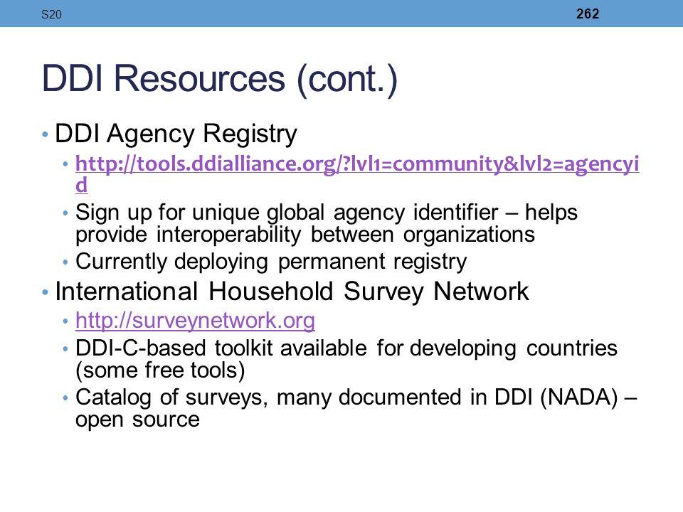 DDI Resources (cont.) DDI Agency Registry