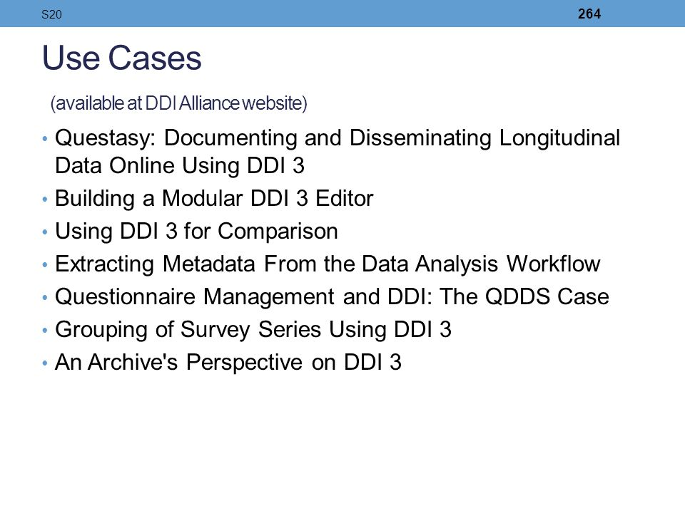 Use Cases (available at DDI Alliance website)