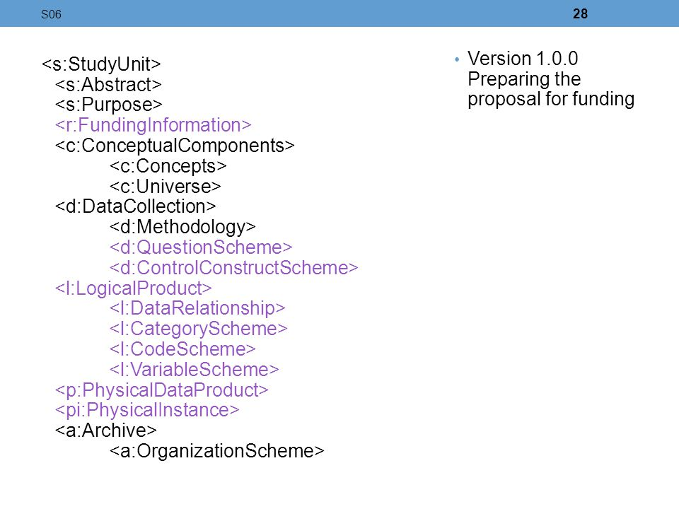 Version 1.0.0 Preparing the proposal for funding <s:StudyUnit>