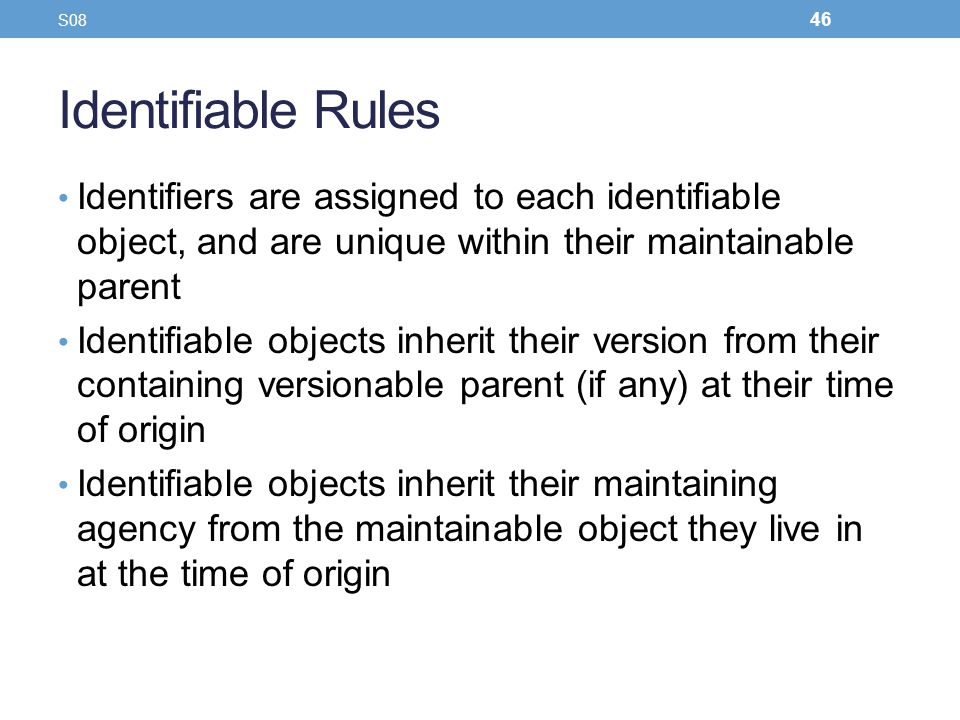 S08 Identifiable Rules. Identifiers are assigned to each identifiable object, and are unique within their maintainable parent.