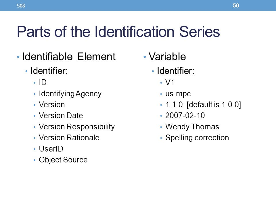 Parts of the Identification Series