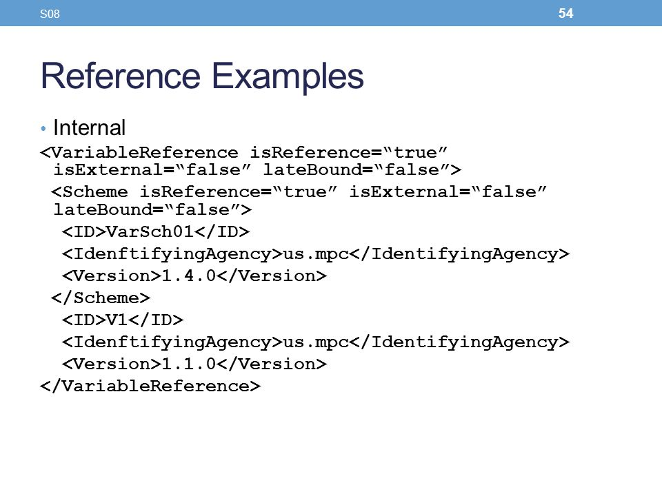 Reference Examples Internal