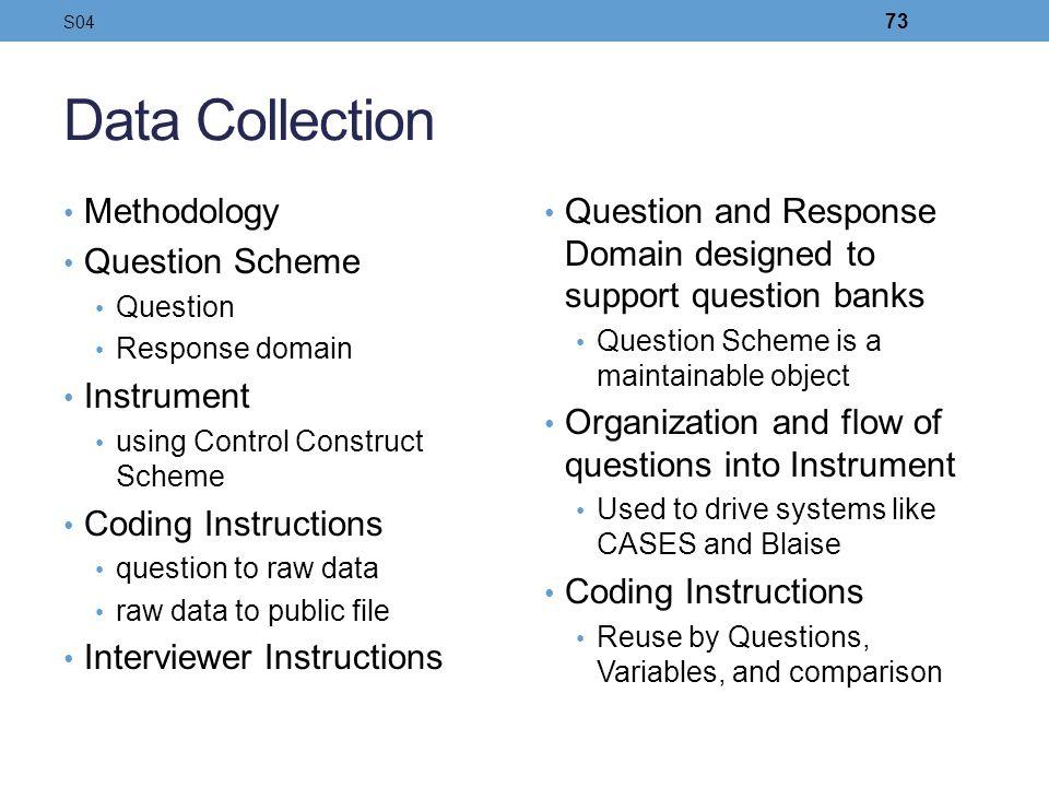 Data Collection Methodology Question Scheme Instrument