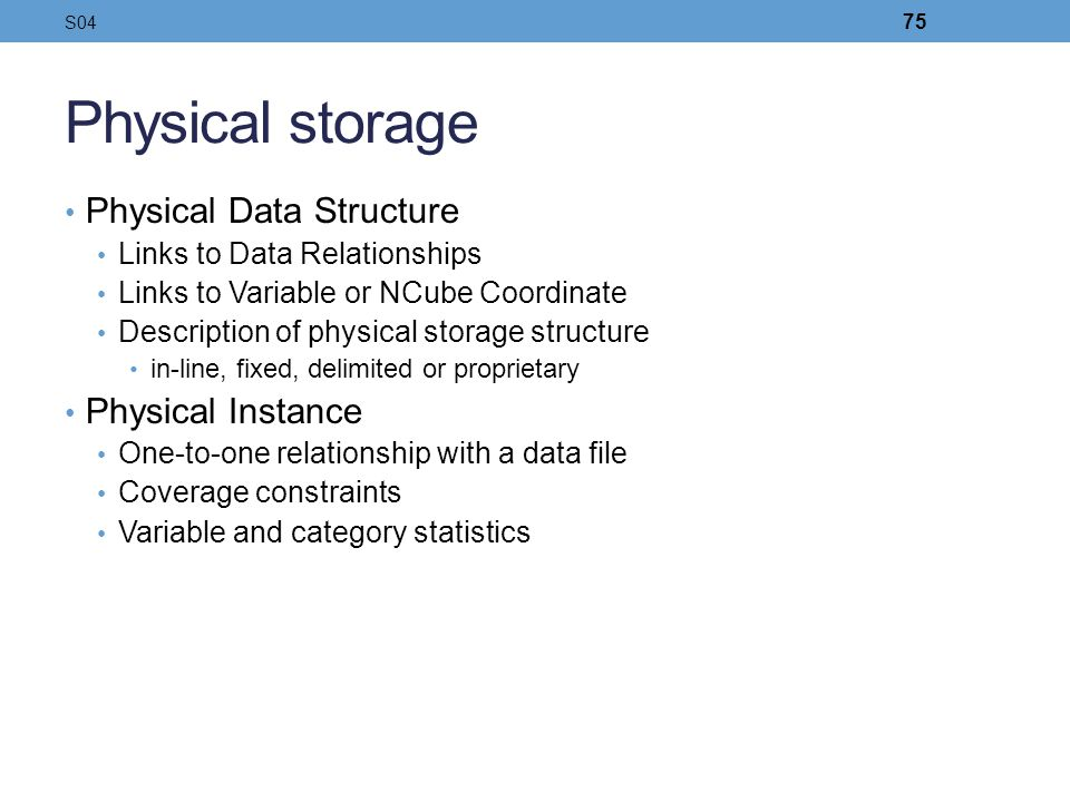 Physical storage Physical Data Structure Physical Instance