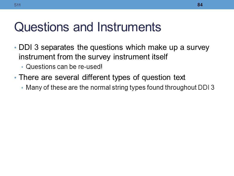Questions and Instruments