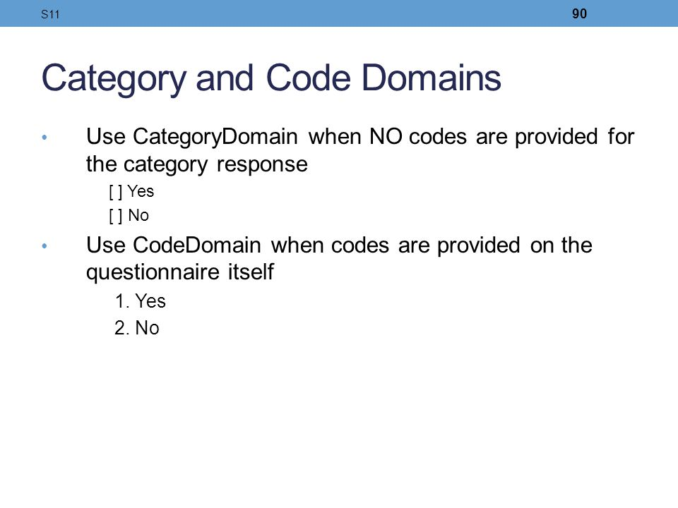 Category and Code Domains