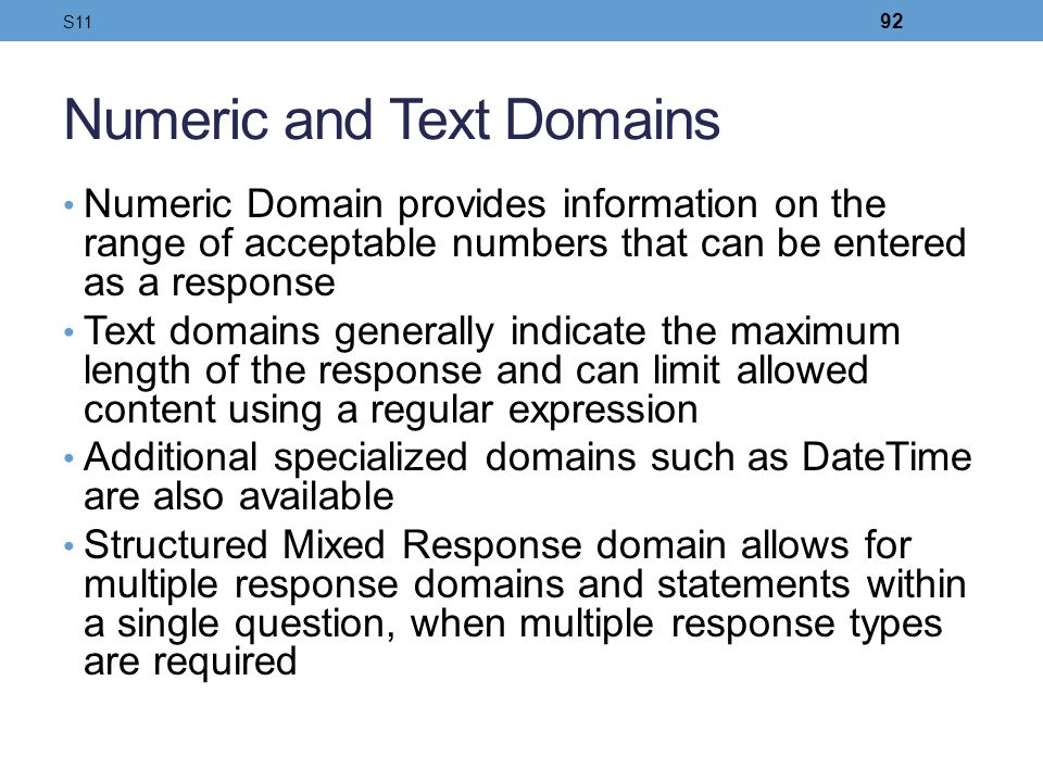 Numeric and Text Domains