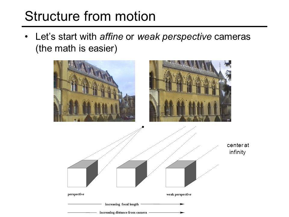Structure from motion Let's start with affine or weak perspective cameras (the math is easier) center at infinity.
