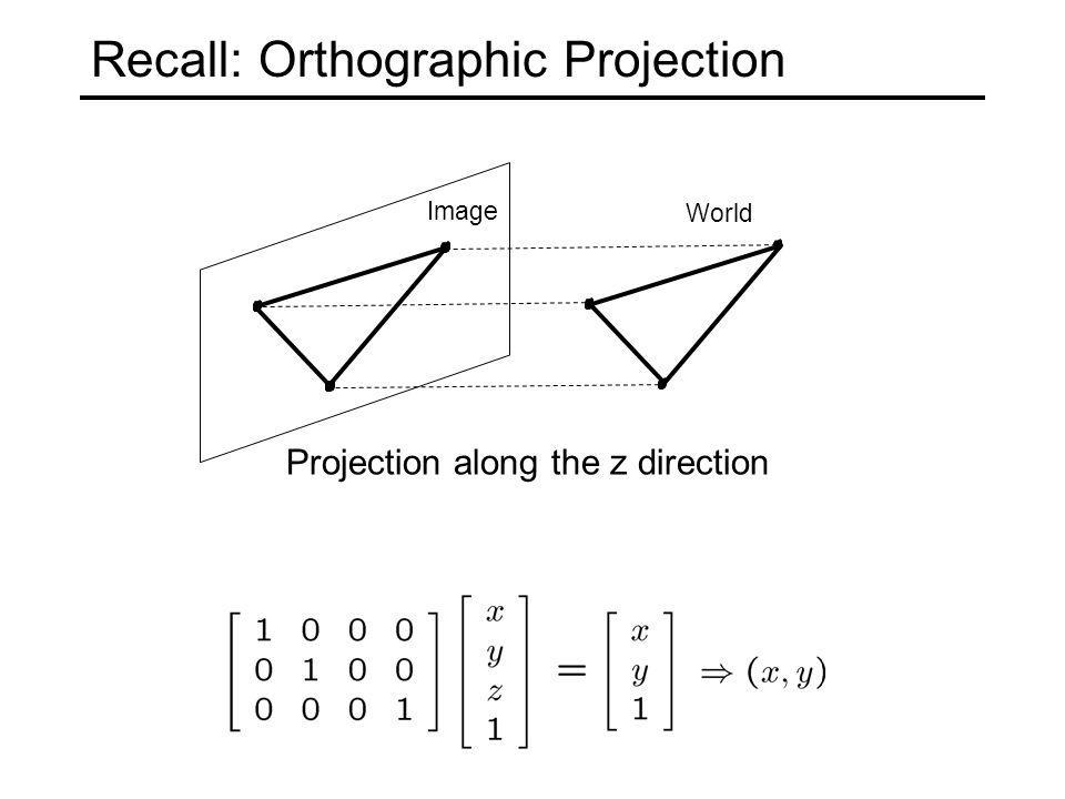 Recall: Orthographic Projection