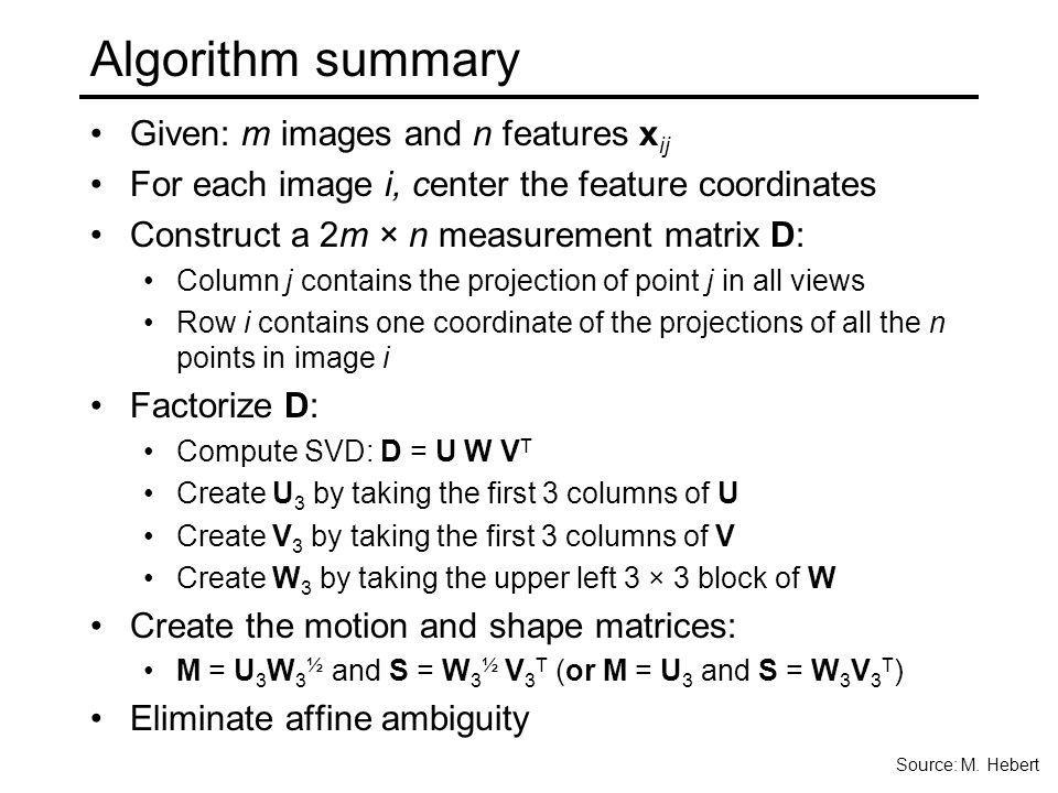 Algorithm summary Given: m images and n features xij