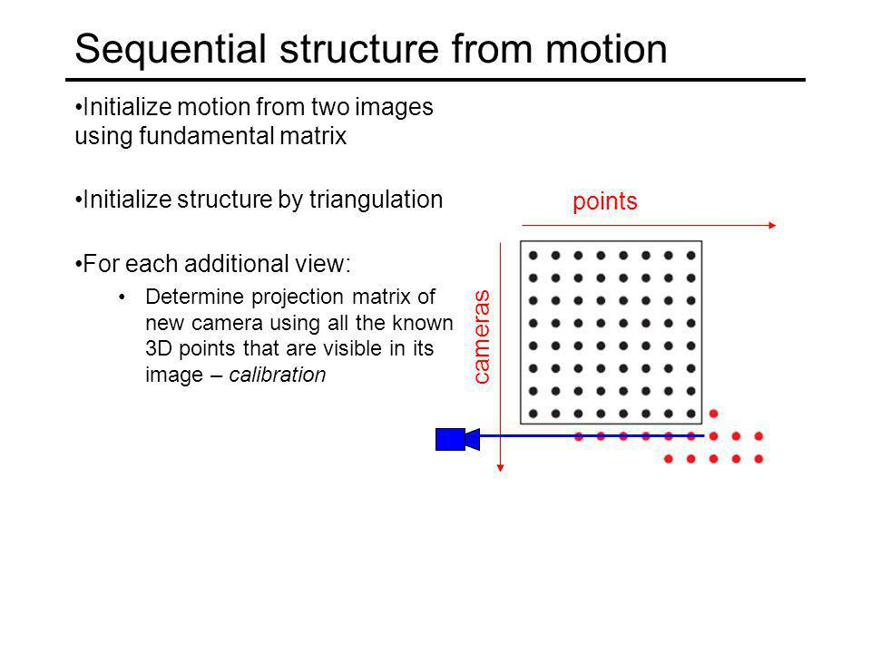 Sequential structure from motion