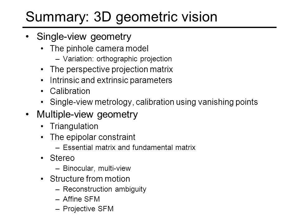 Summary: 3D geometric vision