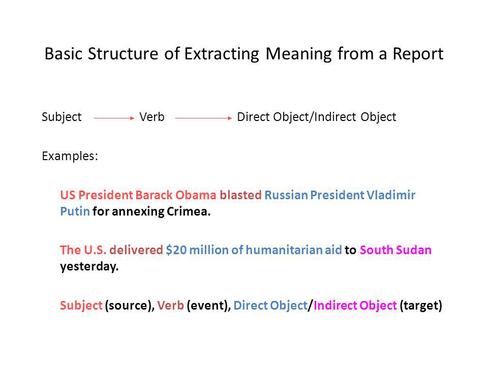 Basic Structure of Extracting Meaning from a Report