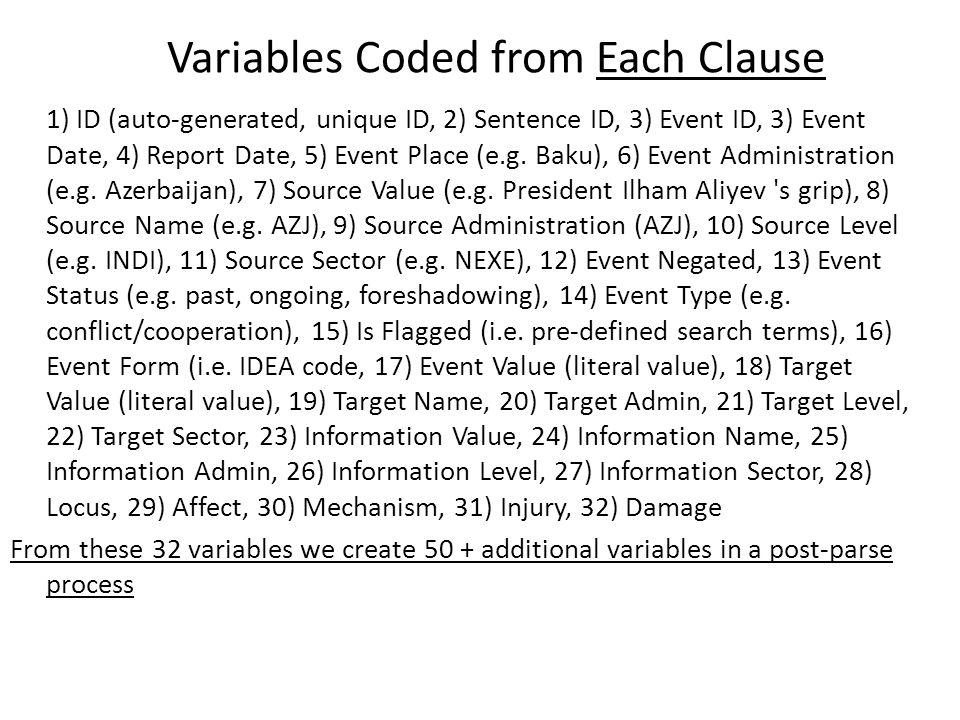 Variables Coded from Each Clause