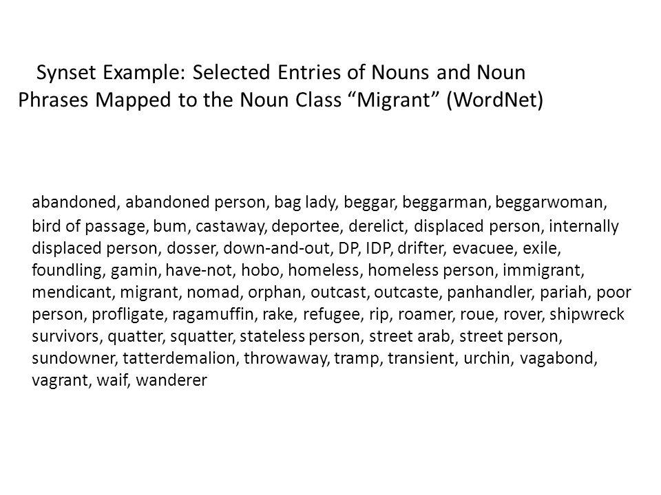 Synset Example: Selected Entries of Nouns and Noun Phrases Mapped to the Noun Class Migrant (WordNet)