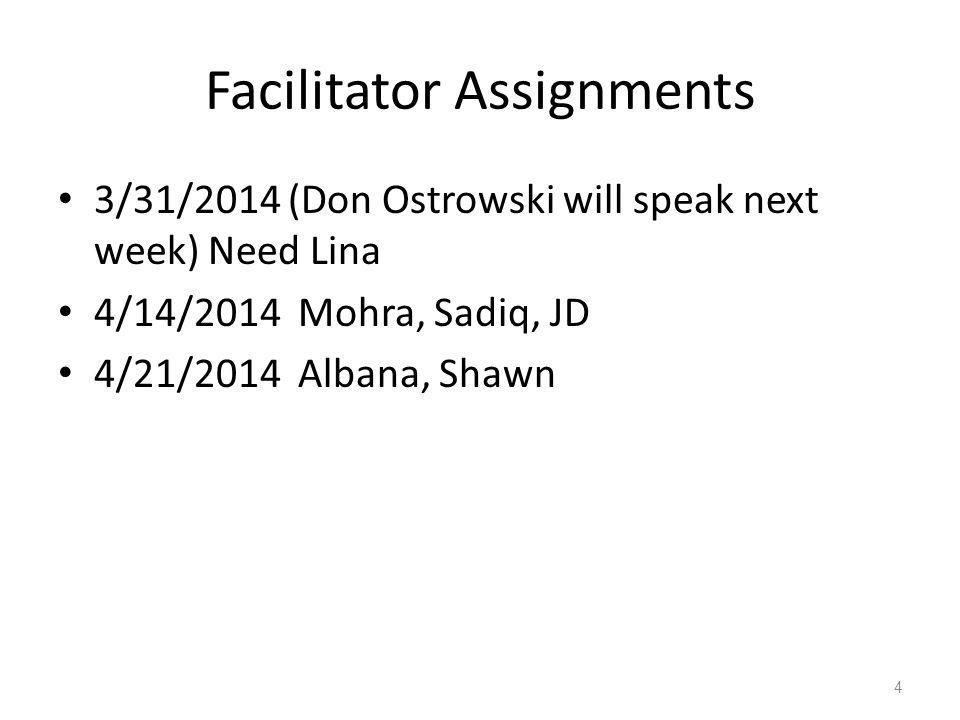 Facilitator Assignments