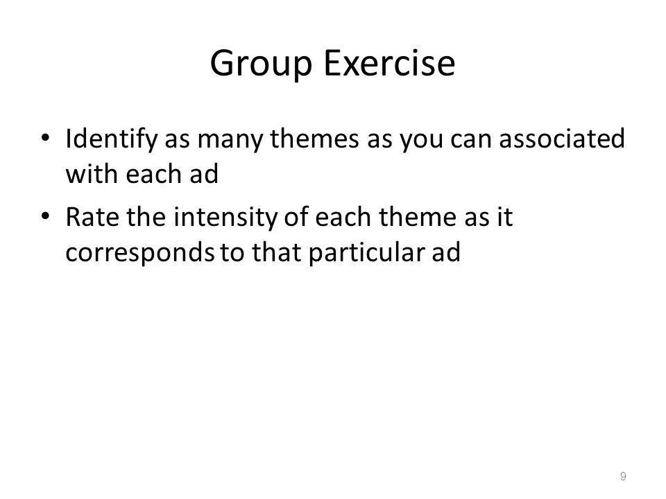 Group Exercise Identify as many themes as you can associated with each ad.