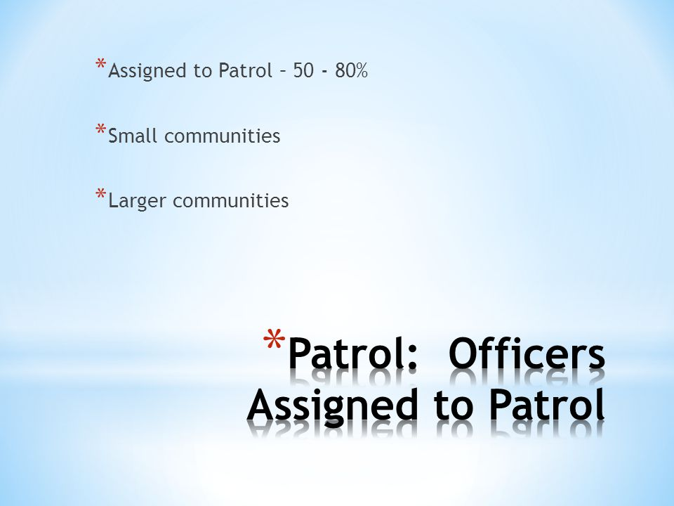 Patrol: Officers Assigned to Patrol