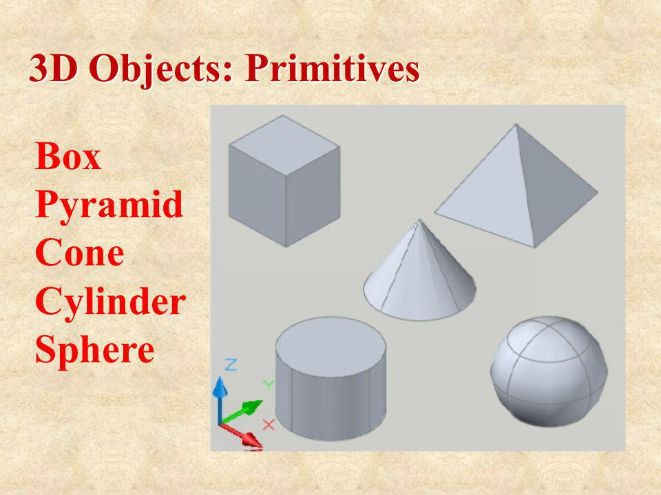 3D Objects: Primitives Box Pyramid Cone Cylinder Sphere