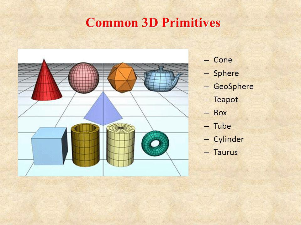 Common 3D Primitives Cone Sphere GeoSphere Teapot Box Tube Cylinder