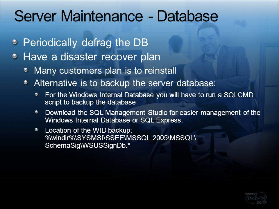 Server Maintenance - Database