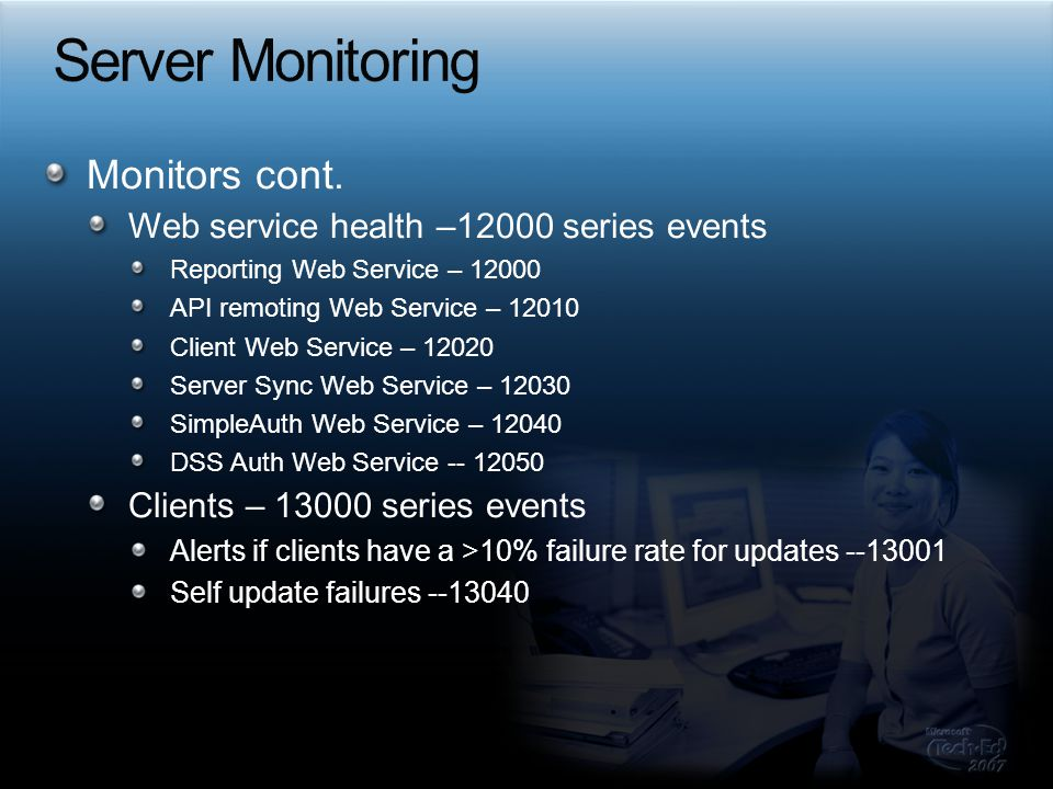 Server Monitoring Monitors cont.