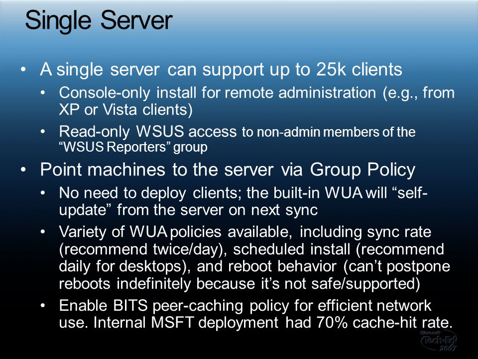 Single Server A single server can support up to 25k clients