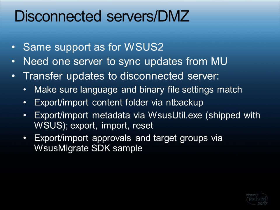 Disconnected servers/DMZ