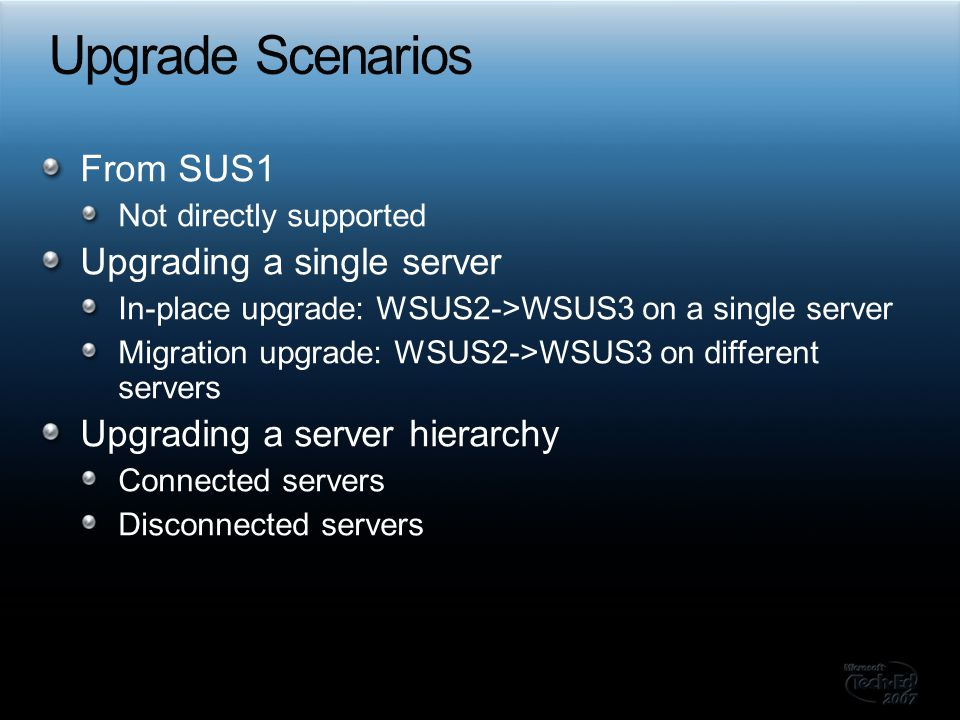 Upgrade Scenarios From SUS1 Upgrading a single server
