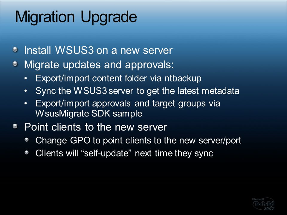 Migration Upgrade Install WSUS3 on a new server