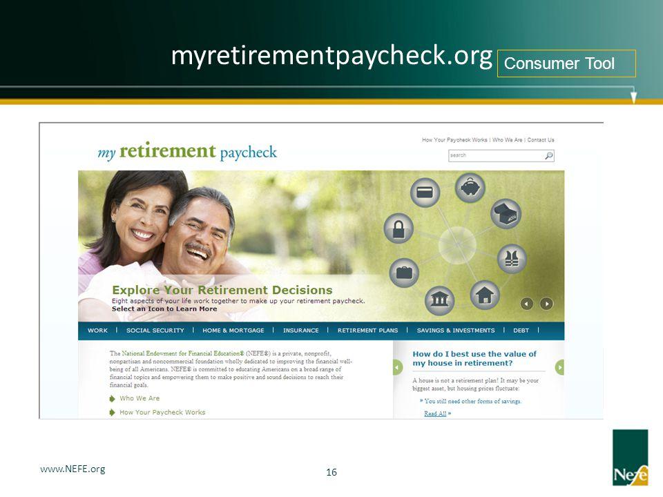 myretirementpaycheck.org Consumer Tool www.NEFE.org