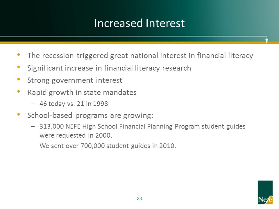 Increased Interest The recession triggered great national interest in financial literacy. Significant increase in financial literacy research.
