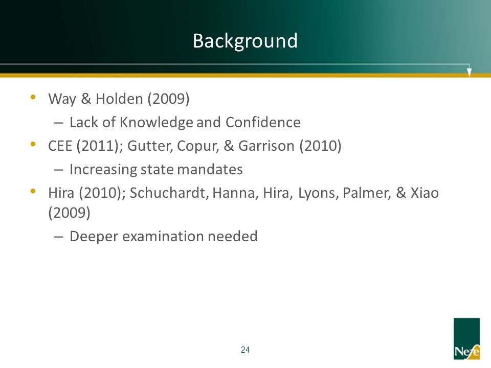 Background Way & Holden (2009) Lack of Knowledge and Confidence